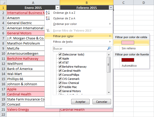 Resaltar valores repetidos en dos columnas de Excel