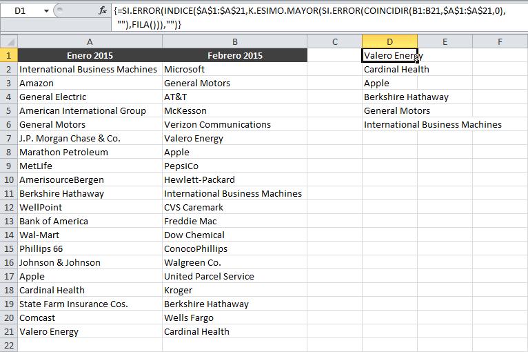 Comparar dos columnas de Excel y encontrar valores repetidos