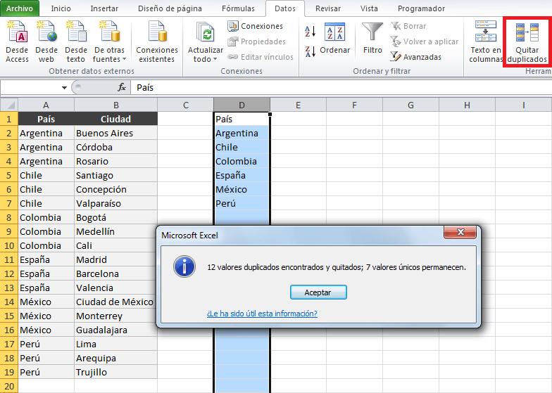 Excel lista desplegable dependiente de otra