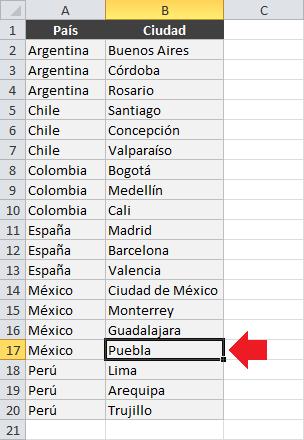 Agregar nuevos datos a las listas desplegables dependientes en Excel
